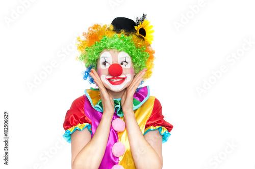 Beautiful young woman as clown Fototapeta