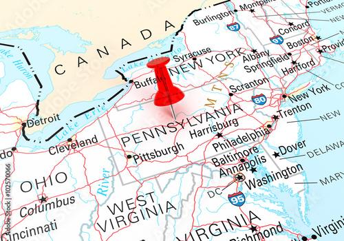 Pennsylvania Map Fototapeta