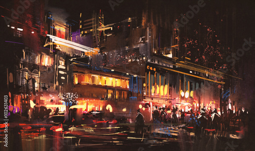 painting of shopping street city with colorful nightlife