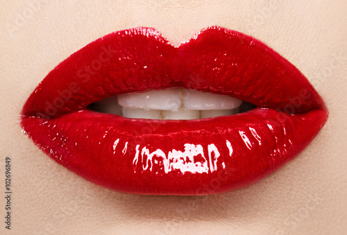Stampa su Tela Passionate red lips,macro photography. Small depth of field