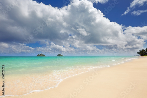 Canvas Print Lanikai Beach and Mokulua Islands, O'ahu, Hawai'i