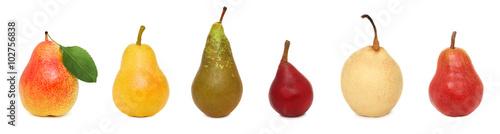 Set ripe whole pears (isolated)