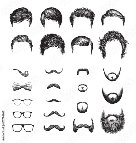 Fotografie, Obraz Set of different Hipster haircuts, beards, glasses, bowtie and pipe