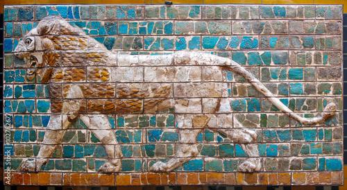 Stampa su Tela Lion on Babylonian mosaic