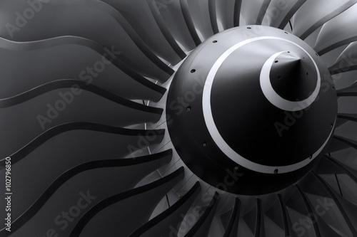 Canvas Print Turbine blades of turbo jet engine for passenger plane, aircraft concept, aviati
