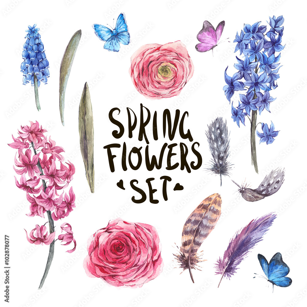 Zestaw elementów akwarela wiosna natura <span>plik: #102878077   autor: depiano</span>