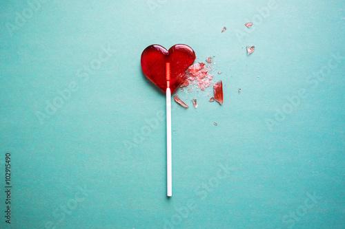 broken heart lollipop Fototapeta