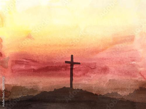 Easter scene with cross Fototapet