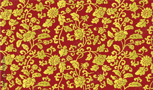 Fotografia Golden Chinese floral pattern