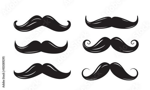 Canvas Print black mustache icons