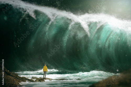 Photo Man in front of a tsunami
