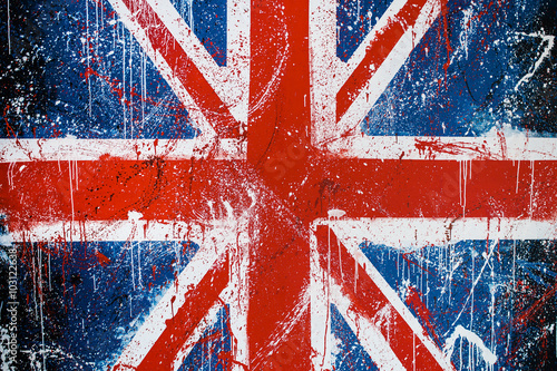 Canvas Print Painted concrete wall with graffiti of British flag