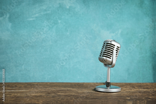 Retro style microphone Fototapeta