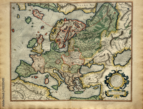 Valokuva Old medieval map of Europe, ancient image printed in 1587 by Mercator