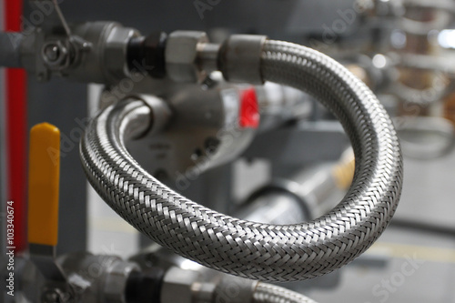 Stainless steel flexible hose connect with ball valve Fototapeta