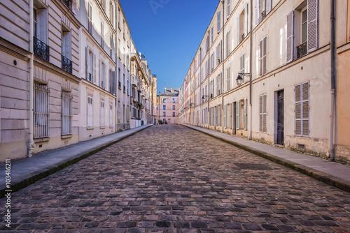 Fototapeta Picturesque cobbled street in Paris, France