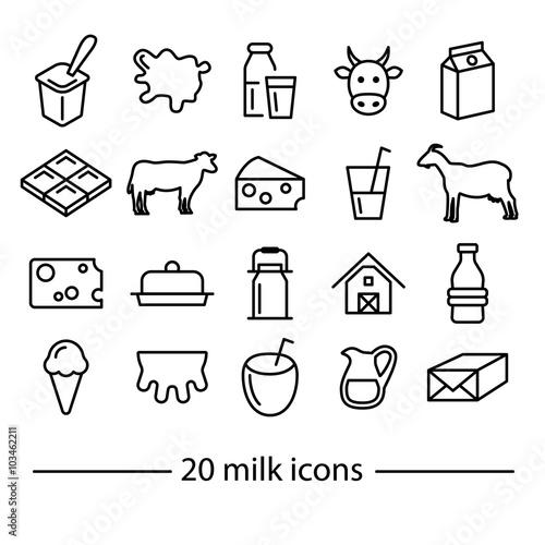 Wallpaper Mural milk line icons