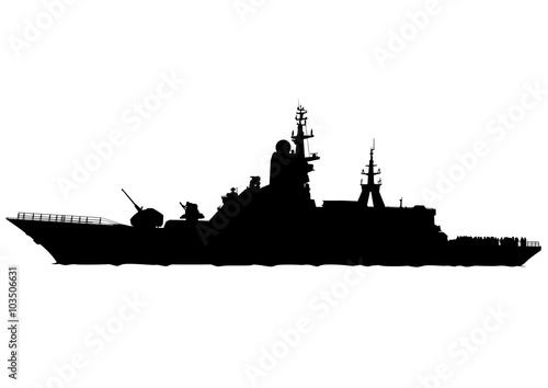 Wallpaper Mural Silhouette of a large warship on a white background