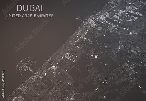 Obraz na plátně Cartina Dubai, vista satellitare, Emirati Arabi Uniti