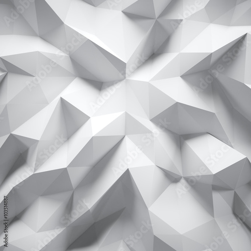 Photo of highly detailed white polygon. White geometric rumpled triangular low poly style. Abstract gradient graphic background. Square. 3d render