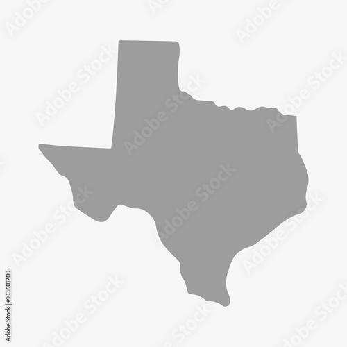Mapa stanu Teksas w kolorze szarym na białym tle