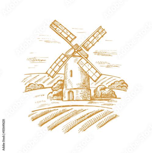 Valokuva mill and landscape