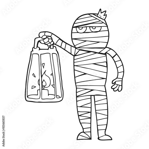 Canvas Print black and white cartoon mummy