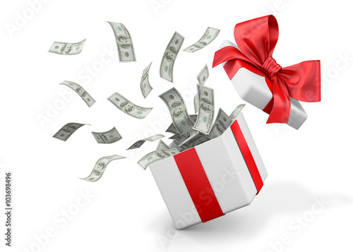 Gift box with banknote of dollar. Fototapeta