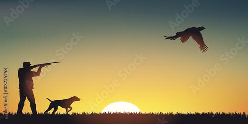Slika na platnu CHASSE Faisan - Coucher de soleil