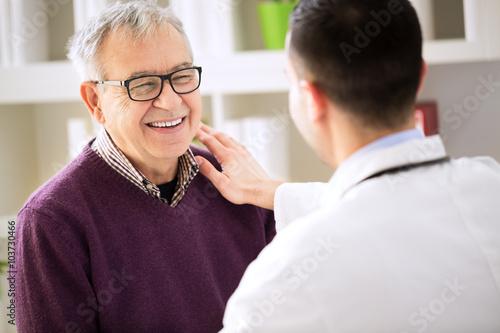 Fototapeta Smiling happy patient visit doctor