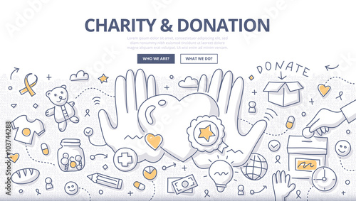Fotografía Charity & Donation Doodle Concept