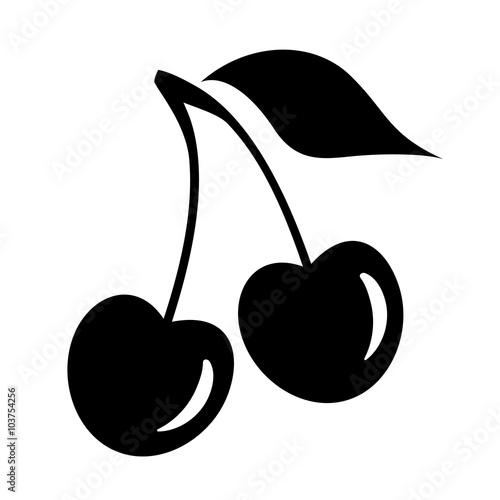 Canvastavla Cherry silhouette icon
