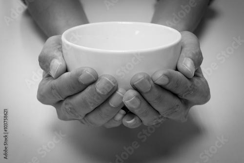Wallpaper Mural Hunger begging with white bowl
