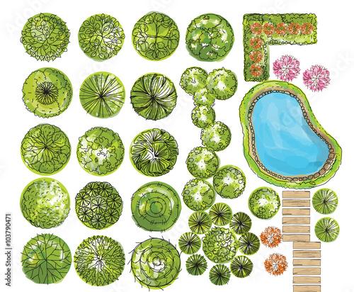 Photo set of treetop symbols, for architectural or landscape design