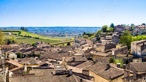 Stampa su Tela panoramic view of Saint-Emilion near Bordeaux, France