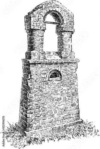 Valokuvatapetti ruined belfry