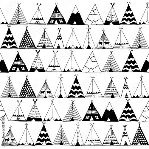 Wallpaper Mural Teepee native american summer tent illustration.