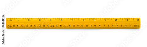 Photo Yellow wooden ruler