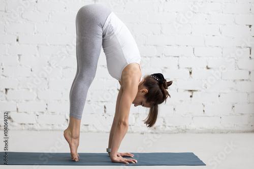 Valokuva Yoga Indoors: preparation for Handstand pose
