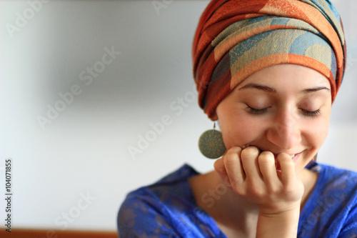 Obraz na plátně woman in fashionable turban smile laugh summer