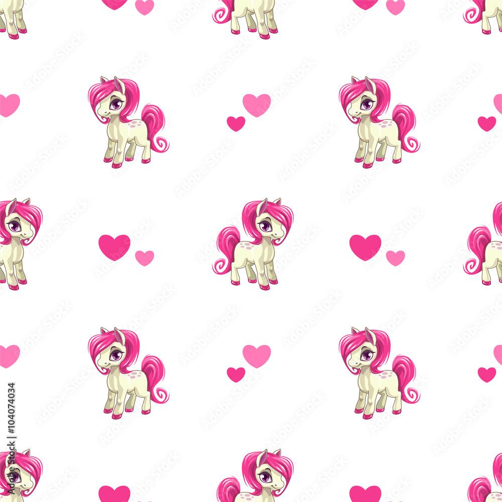 Śliczny bezszwowy wzór z małym kreskówka koniem <span>plik: #104074034   autor: lilu330</span>