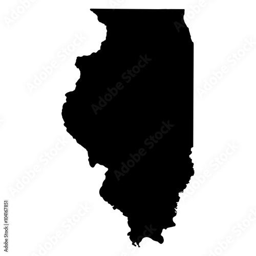 Carta da parati Illinois black map on white background vector