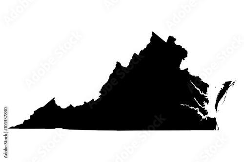 Virginia black map on white background vector Fototapeta