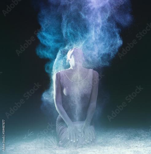 Obraz na plátně creative portrait.low grain and dust added for create atmosphere
