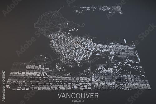 Fotografie, Obraz Cartina Vancouver, vista satellitare, Columbia Britannica, Canada