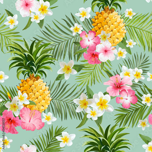tropikalne-kwiaty-i-ananasy-tlo-vintage-wzor