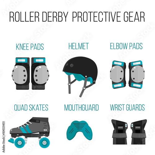 Fotomural Vector set of flat roller derby protective gear