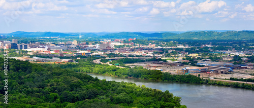 Vászonkép Panorama landscape of Chattanooga on the Tennessee River as seen from Chickamaug