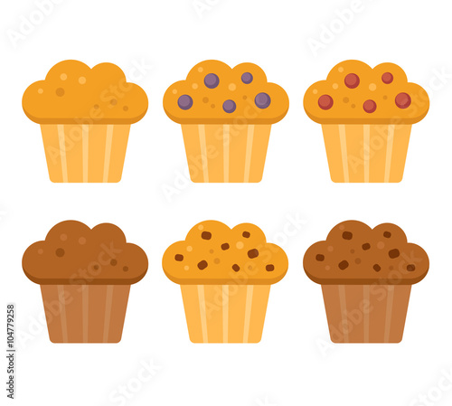 Fotografia cartoon muffins set
