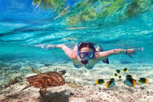 Fotografie, Tablou Beautiful women snorkeling in the tropical sea